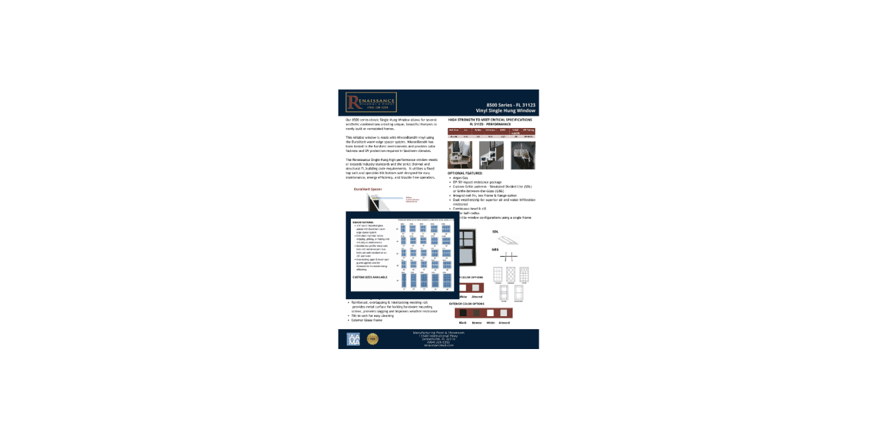renaissance window & door technical sheet image